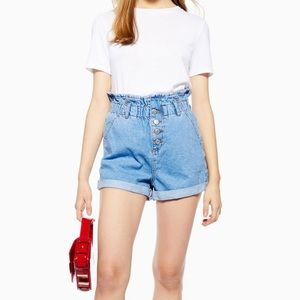 Topshop Paper bag Jean Shorts Size 8 NWT